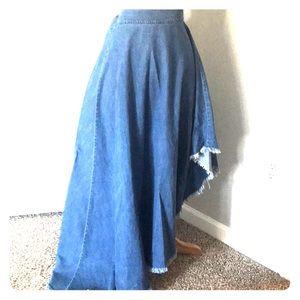Asymmetrical Jean Skirt